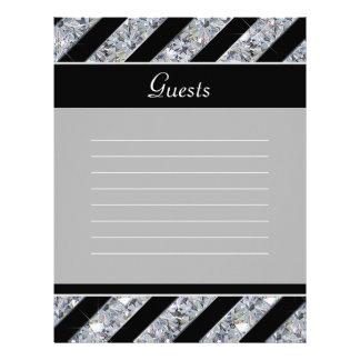 Sparkling Diamond & Black Stripes Wedding Letterhead