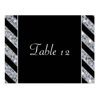 Sparkling Diamond & Black Stripes Wedding Postcard