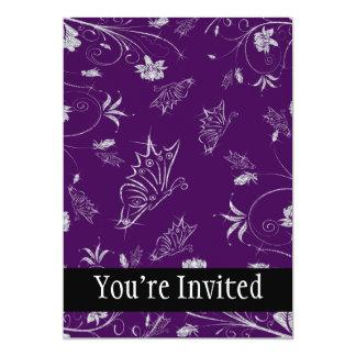 Sparkling Diamond Flowers & Butterflies On Plum Card