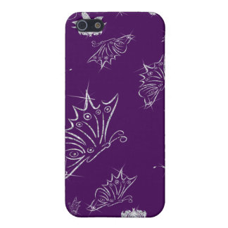 Sparkling Diamond Flowers & Butterflies On Plum Case For iPhone SE/5/5s