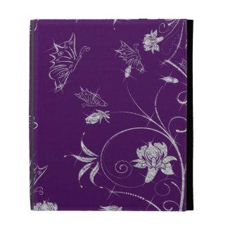 Sparkling Diamond Flowers & Butterflies On Plum iPad Folio Covers