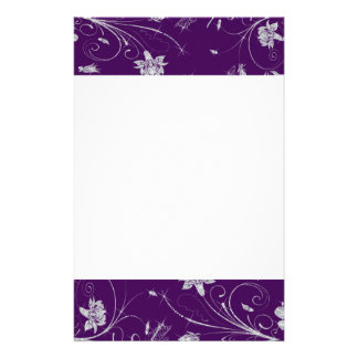 Sparkling Diamond Flowers & Butterflies On Plum Stationery