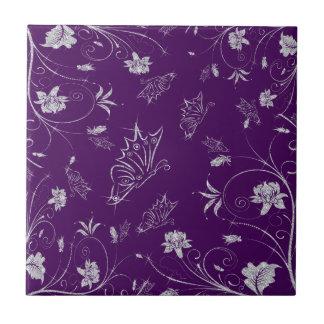 Sparkling Diamond Flowers & Butterflies On Plum Small Square Tile