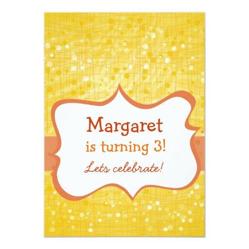 sparkling dots on yellow 13 cm x 18 cm invitation card