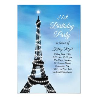 Sparkling Eiffel Tower 21st Birthday Invite blue