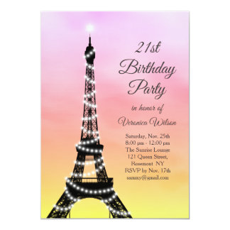 Sparkling Eiffel Tower 21st Birthday pink / coral Card