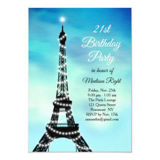 Sparkling Eiffel Tower 21st Birthday turquoise Card