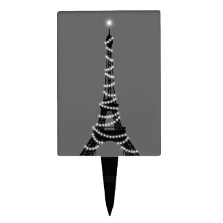 Sparkling Eiffel Tower Cake Pick in gray