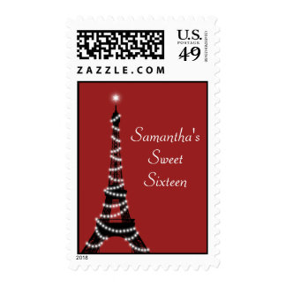 Sparkling Eiffel Tower Stamp in Red
