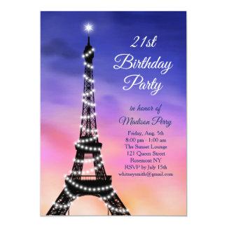 Sparkling Eiffel Tower Sunset 21st Birthday Invite