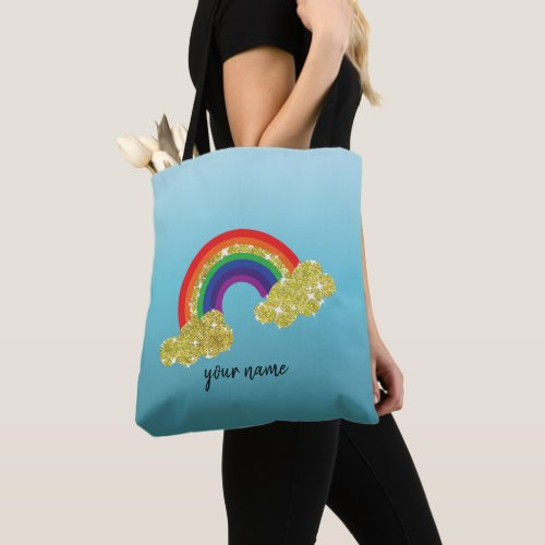 sparkling faux gold glitter cloud with rainbow tote bag
