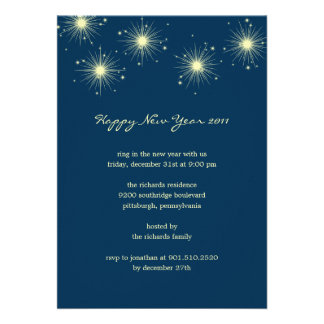 Sparkling Fireworks New Year s Eve Party Invites Personalized Announcements