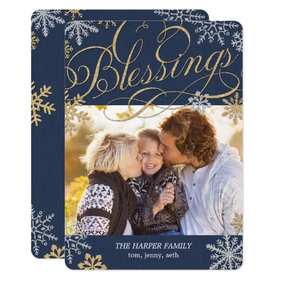 Sparkling Flakes Holiday Photo Card Christmas Card