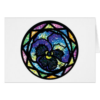 Sparkling Glitter Blue Pansy Greeting Card