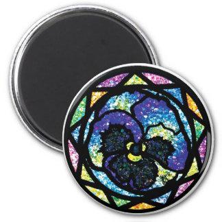 Sparkling Glitter Blue Pansy Magnet
