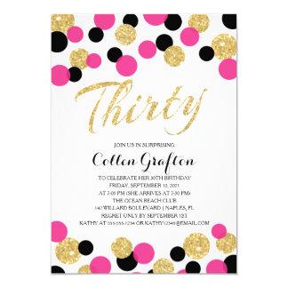 Sparkling Glitter Confetti | 30th Birthday 5x7 Paper Invitation Card