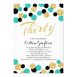 Sparkling Glitter Confetti   30th Birthday 5x7 Paper Invitation Card