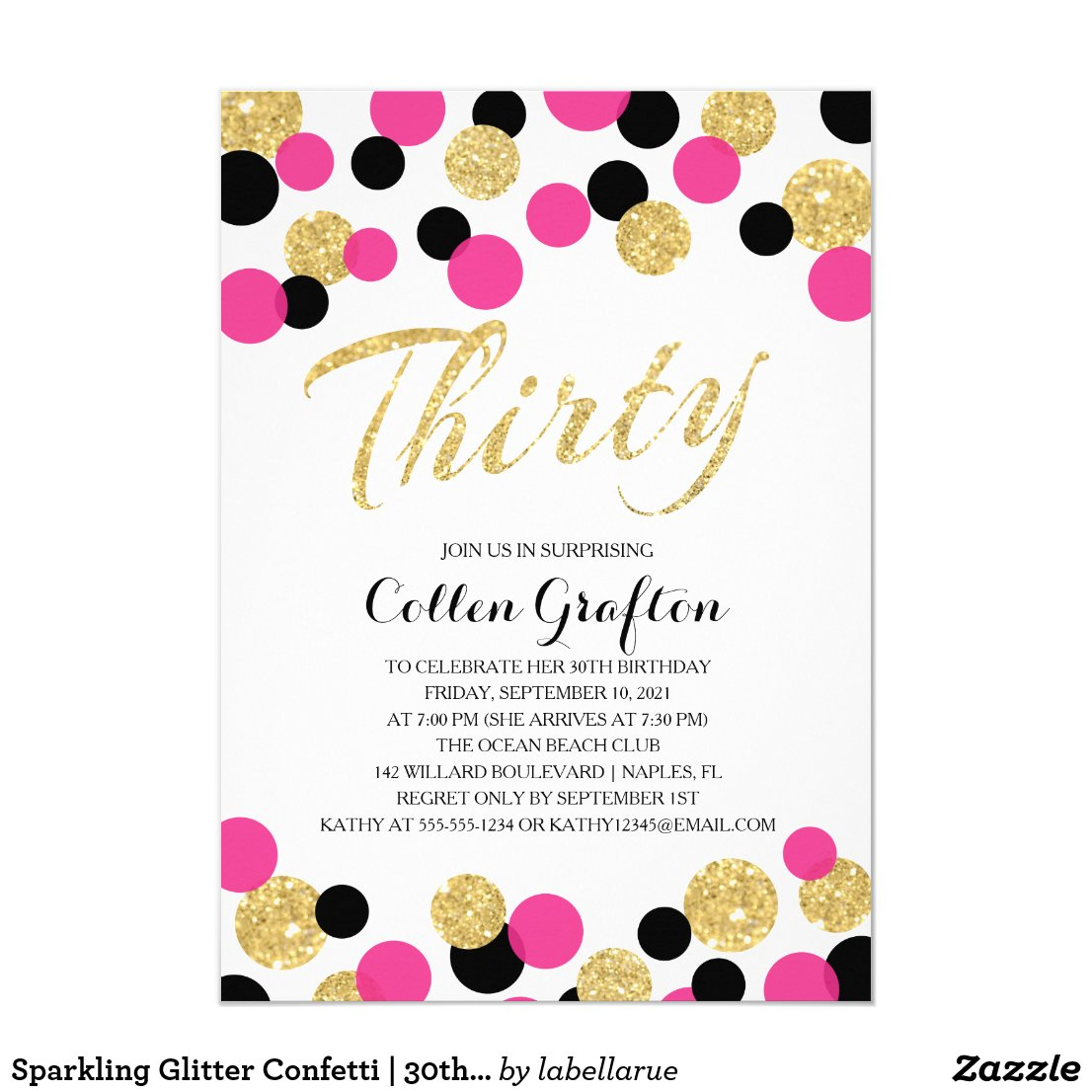 Sparkling Glitter Confetti | 30th Birthday Invitation
