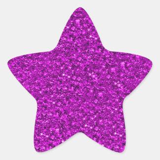 sparkling glitter hot pink star sticker