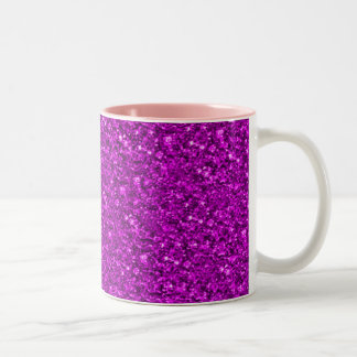 sparkling glitter hot pink Two-Tone coffee mug