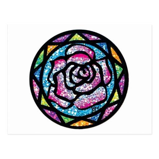 Sparkling Glitter Light Pink Rose Post Cards
