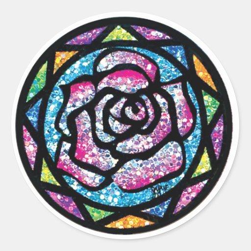 Sparkling Glitter Light Pink Rose Round Sticker