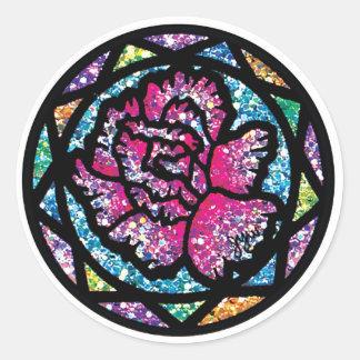 Sparkling Glitter Pink Carnation Round Stickers