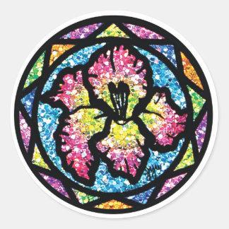 Sparkling Glitter Pink Gladiolus Classic Round Sticker