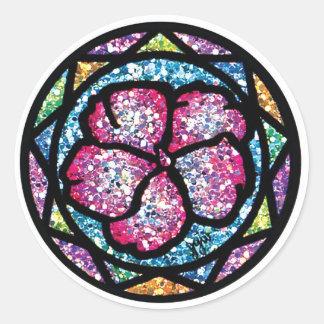 Sparkling Glitter Pink Impatiens Classic Round Sticker