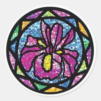 Sparkling Glitter Pink Iris Classic Round Sticker