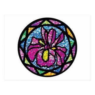 Sparkling Glitter Pink Iris Postcard
