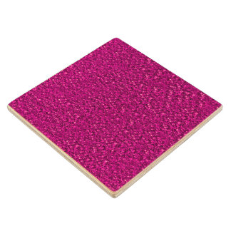sparkling glitter pink maple wood coaster
