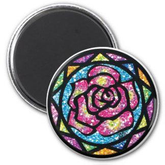 Sparkling Glitter Pink Rose 2 Inch Round Magnet