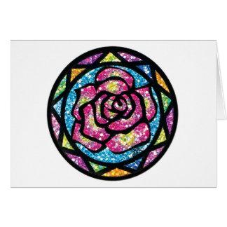 Sparkling Glitter Pink Rose Card