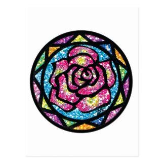 Sparkling Glitter Pink Rose Postcard