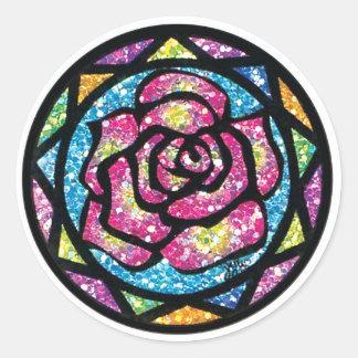 Sparkling Glitter Pink Rose Round Sticker