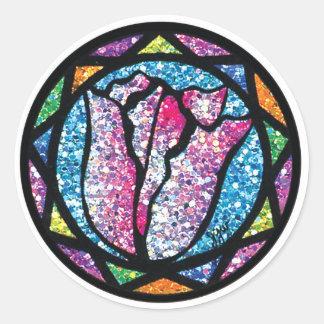 Sparkling Glitter Pink Tulip Classic Round Sticker