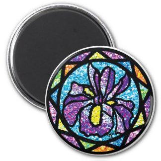 Sparkling Glitter Purple Iris 2 Inch Round Magnet