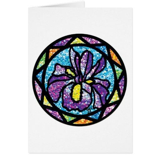 Sparkling Glitter Purple Iris Greeting Card