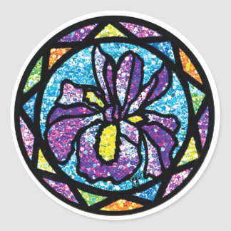 Sparkling Glitter Purple Iris Classic Round Sticker