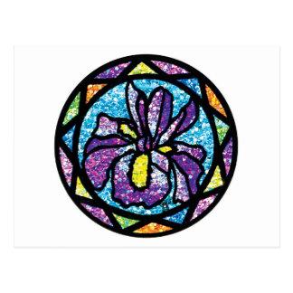 Sparkling Glitter Purple Iris Postcard