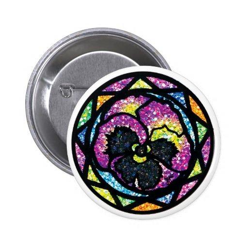 Sparkling Glitter Purple Pansy Pin