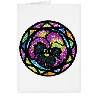 Sparkling Glitter Purple Pansy Greeting Card