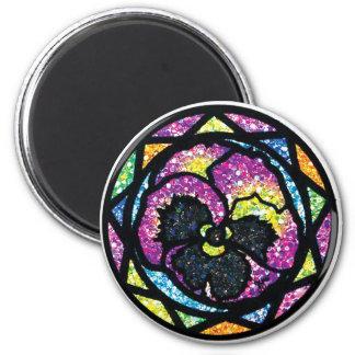 Sparkling Glitter Purple Pansy Magnet