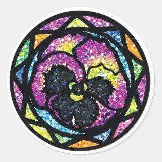 Sparkling Glitter Purple Pansy Round Stickers