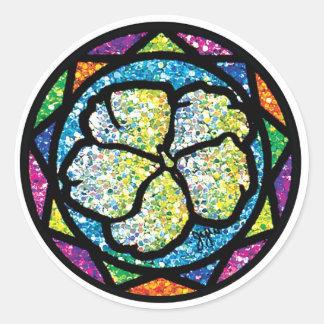Sparkling Glitter White Impatiens Classic Round Sticker
