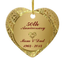Sparkling Gold  50th Wedding Anniversary Ceramic Ornament