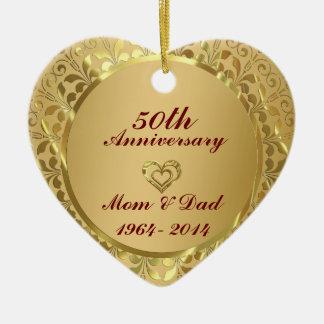 Sparkling Gold  50th Wedding Anniversary Ceramic Ornament
