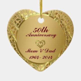 Sparkling Gold 50th Wedding Anniversary Double-Sided Heart Ceramic Christmas Ornament