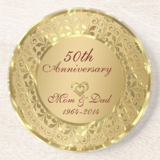 Sparkling Gold 50th Wedding Anniversary Drink Coaster